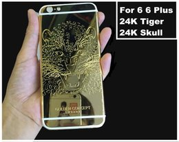 Wholesale 24k Gold Housing - Luxurious Replacement 24K Gold Plated Rear Door for iphone 6 Housing Skull Back Cover Middle Frame with Buttons Card Tray