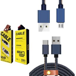 Wholesale Iphone Ft Cable - Micro USB Cable 5.9 FT Durable Cowboy Blue Braided Fart Charging Data Cable USB Cord Android all smart Phones S6 S7 edge Sony HTC Huawei