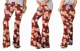 Wholesale Rayon Twill - Sedrinuo Flower Printed Pockets Wide Leg Pants Women Middle Waist Flare Pants 2017 Fashion Elastic Wasit Skinny Casual Pants