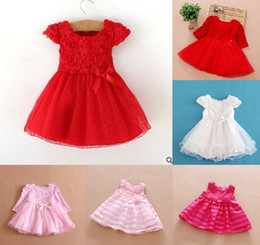 Wholesale Toddler Natural Pageant Dresses - girls pageant dress Lace baby princess Flower Dresses christmas girls dress Toddler Party Dresses Infant Birthday Tutu Dress 7487
