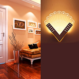 Wholesale Battery Sconces - Indoor LED Wall Lamp Modern Peacock Shape Acrylic Wall Sconce Light Living Sconce Wall Lights Room Portable Lanterns