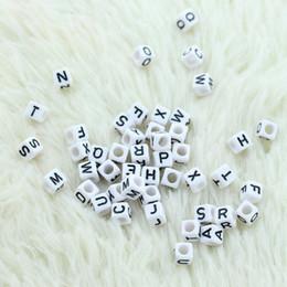 Wholesale Alphabet Letter Cube Acrylic Beads - MIC Black & White Acrylic Cube Alphabet Beads 7mm