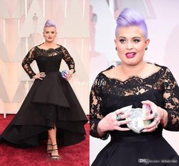 Wholesale Cheap Short Purple Dress Prom - 2016 Oscar Kelly Osbourne Celebrity Dress Long Sleeved Lace Scallop Black High Low Red Carpet Sheer Evening Dresses Party Ball Gown Cheap