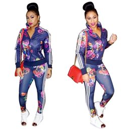 Wholesale Jogging Suits Winter - Goods In Stock Fashion Autumn And Winter European Long Sleeve Sexy Twinset Women Sports Ladies Tracksuits Jogging Suits Print