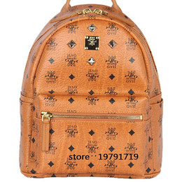 Wholesale Leather Computer Backpack For Women - 2017 New Arrival Fashion School Bags Hot Punk style Women Backpack Rivet Crown Student Backpack PVC Leather Lady Bags size for 35*30*15cm