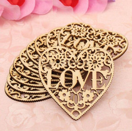 Wholesale Wholesale Wooden Shapes For Crafting - LOVE hearts shape wooden crafts with holes laser cut wood heart for home decorations wall stickers wooden hearts free shipping WT063