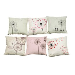 Wholesale hand painted cushions - Hand Painted Dandelion Pattern Linen Cushion Cover Home Office Sofa Square Pillow Case Decorative Cushion Covers Pillowcases Without Insert