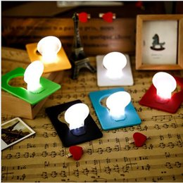 Wholesale Led Wallet Bulb - Christmas decorations Novelty Items Emergency ABS Small THIN Portable LED Card Light Bulb Lamp Pocket Wallet Size