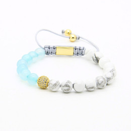Wholesale white marbles - Womens Jewelry Wholesale 10pcs lot 8mm Natural Blue Agate & White Howlite Marble Stone Four Colors Clear Cz Beads Macrame Bracelets