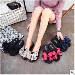 Wholesale Wholesale Ladies Slippers - Sandals for Women Lady Non-Slip Shoes Summer Flip Flops Floral Beach Flat Sandals Women Slippers Lace Chinelo Mesh Bowknot Girls Slides