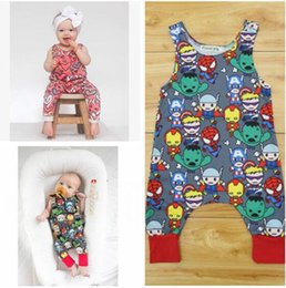 Wholesale Girls Superhero Clothes - Cotton Cartoon Superhero Newborn Sleeveless Romper Baby Girl Boy Clothes Bodysuit Jumpsuit Playsuit Cute Heart-shaped Printing Outfits 539