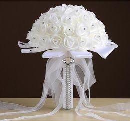 Wholesale Ivory Bridal Bouquets - 2017 Cheap Hot Sales Rose Artificial Bridal Flowers Bride Bouquet Wedding Bouquet Crystal Ivory Silk Ribbon New Buque De Noiva