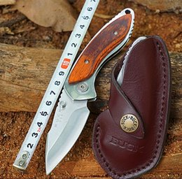 Wholesale Buck Hunting - BUCK 271Tactical Hunting Knives 12C27M Steel Folding Blade Knife with Rosewood Handle Leather Sheath Outdoor Jackknife Survival Tools