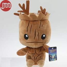 Wholesale Galaxies Video - New Mini Guardians of the Galaxy Tree Man Groot Stuffed Plush Doll Superhero Anime Toy 20cm Brinquedos