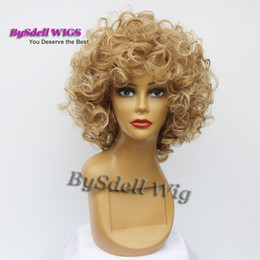 Wholesale Wig Short Blonde Heat - short big curly wig afro fluffy Dark ombre Light blonde tip color heat resistant wavy hair African American wigs for black women