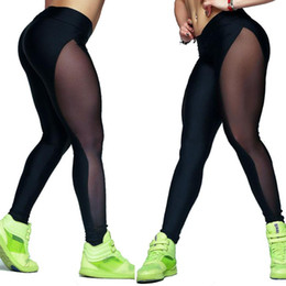 Wholesale Top Selling Leggings - Wholesale- 2016 Top Selling Women Mesh Leggings Gothic Punk Rock Outside Fitness Elastic Push Up Femme Legging Ropa Deportiva Mujer #OR1