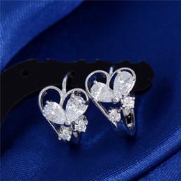Wholesale Diamond Butterfly Earings - Hot Silver Plated Cute Heart Butterfly Crystal Earings for Women CZ Diamond Fashion Cute Hoop Earrings Jewellery