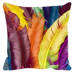 Wholesale Throw Pillows Feather Print - 3D Cushion covers Euro pillow cover Feather Pattern Pillowcases 45*45,50*75cm sofa throw 3d pillow case cojines decorativos home decor