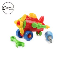 Wholesale Small Mini Toy Cars - DIY Disassembling Small Car Plane Building Blocks Children Assembled Model Tool Clamp With Screwdriver Kids Educational Toys