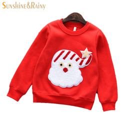 Wholesale Kids Thick Sweater - Wholesale- Girls Warm Hoodies 2017 Autumn Winter Fashion Thick Plush Christmas Hedging Sleeve Children's Sweaters Cute Cartoon Kids Hoodies