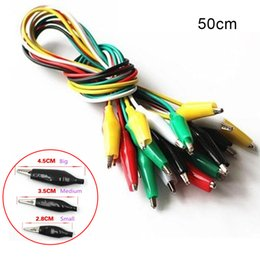 Wholesale Electronic Test - Electronics Connecting Wire 50CM Double-ended Test Alligator Crocodile Clip Jumper Cable Probe Leads Wires 10Pcs lot