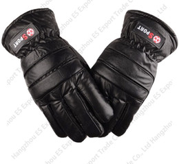 motorcycle factory direct Coupons - Factory Direct Sale Cotton Thick Leather PU Imitation Cowhide Male Winter Gloves Anti Wind Cold Motorcycle Fingers Gloves