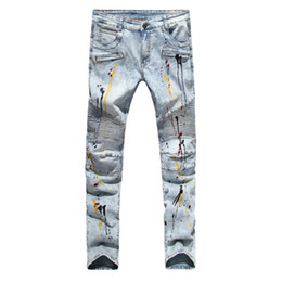 Wholesale United States Design - Wholesale- Men Biker Jeans Design Fashion Jeans For Men Hip Hop Strech Pleated Jeans Europe and the United States foreign trade foreign