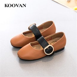 Wholesale Mary Jane Shoes For Girls - Mary Jane Shoes Kids Shoes Koovan Wholesale 2017 New Spring Autumn High Quality Genuine Leather Peas Shoes For Big Kids K011