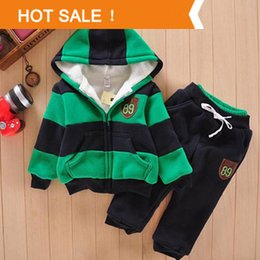 Wholesale Sherpa Baby - Wholesale- Boys Girls Children Hoodies Winter Wool Sherpa Baby Sports Suit New 2015 Jacket Sweater Coat & Pants Thicken Kids Clothes Sets