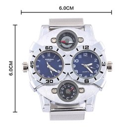 Homens assistir dual tempo aço on-line-Shiweibao Dual Time dial Assista Bússola Stainess Steel Strap Quartz Relógios