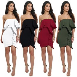 Wholesale Date Night Dresses - Dress Bodycon Sexy Summer Sleeveless ruffles strapless Lady Slim Short Party night culb date Mini Dress Vestido Curto Mujer