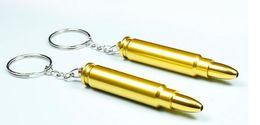 Wholesale Gun Metal Chains - IN STOCK Gold Bullet Metal Key Chain Smoking Pipe Head Gun Pistol Bullet Shape hand Pipe