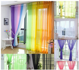 Wholesale Voile Curtains Scarf - 100*200cm Coloful Floral Tulle Voile Door Window Curtain Drape Panel Sheer Scarf Valances Glass Yarn Curtains