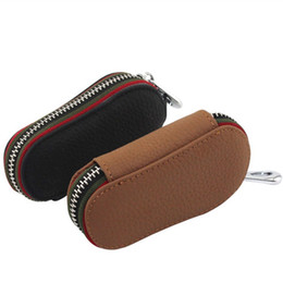 Wholesale Car Leather Key Holder Case - ZYD-COOL Genuine Leather Bag Car Key Wallets Fashion Women Housekeeper Holders Carteira Keychain Zipper Key Case Pouch