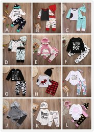 Wholesale Stripes Long Sleeves Outfits - 12 Style Baby INS Stripe Letter Flower Suit Kids Toddler Infant Casual Long Sleeve T-shirt+trousers Outfit Pajamas Newborn Baby Clothes 2017