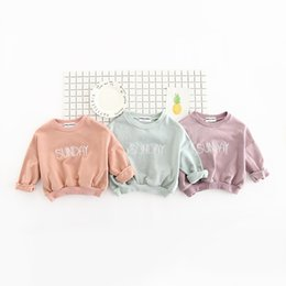 Wholesale Pullover Hoodie Wholesale - INS NEW ARRIVAL boys girl 100% cotton long Sleeve letter print hoodies child clothe pullover outerwear baby kids hoodies