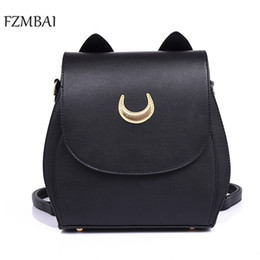 Wholesale ear covers cat - Wholesale- New Moon Sailor PU Backpack Fashion Multi-functional Cat Ear Bags
