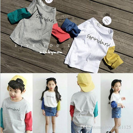 Wholesale New Korea Fashion Shirts - 2017 Korea NEW ARRIVAL Boys Girls Kids Long Sleeve o-neck letters print t shirt baby kid cool casual autumn t shirt