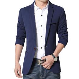 Wholesale Top Mens Business Suits - Wholesale- New Fashion 2016 Spring Mens Blazer Casual Suits Men Slim Business Dress Suits Jacket Male Tops Clothing 4 Colour M-5XL size