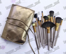 Wholesale Makeup Brushes Set Pieces - Factory Direct DHL Free Shipping New Makeup Brushes Nude 24 Pieces Brush With Leather Pouch!