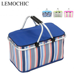 Wholesale Red Picnic Basket - Wholesale- High quality Super large 32L 1680D Oxford portatiles camping picnic bag set Waterproof Insulated lunch cooler box picnic basket