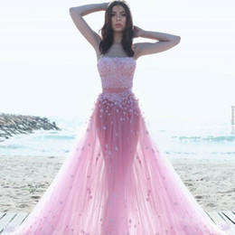 Wholesale Fantasy Prom - Pink Tulle A-Line Prom Dresses With Glamorous Floral-Appliques Simple Fashion Strapless Sleeveless Party Dresses Fantasy Pretty Evening Gown