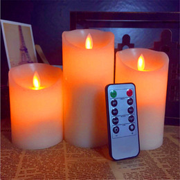 Wholesale Led Candles Sets - 3pcs Moving Wick Dancing Flame Wax Pillar LED Candle Set with Remote Control Timer Dimmer Christmas Wedding Party Decor