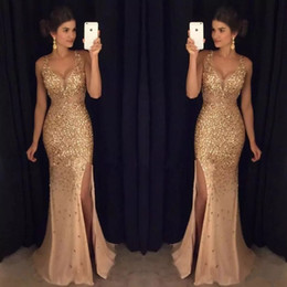 Wholesale Luxury Gold Sequins Evening Dress - Luxury Gold Crystals Mermaid Prom Dresses Sheer Deep V-Neck Backless Split Side Evening Gowns Rhinestones Tulle Pageant Dress