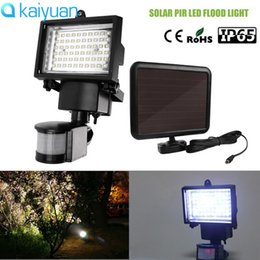 Wholesale Outdoor Sensor Flood Light - IP65 60LEDS Solar LED Flood Light Lamp With PIR Motion Sensor Outdoor Garden Spotlights Cool White Emergency Floodlights