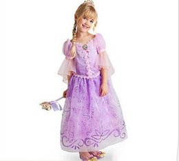 Wholesale Rapunzel Cartoon - 2017 Children Kids Cosplay Dresses Rapunzel Costume Princess Wear Perform Clothes Purple Princess Dress For Kids Free Shipping