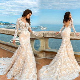 Wholesale Western Mermaid Gown - 2017 Mermaid Long Sleeve Full Lace Wedding Dress Western Applique Summer Beach Backless Bridal Gown Plus Size Custom Made