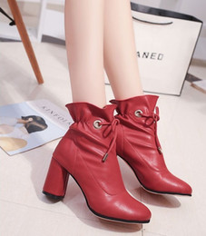 Wholesale Black Women Wearing High Heels - 2017 winter new boots women's shoes with round head adhesive shoes Martin boots high-end wear-resistant soles 35-40 yards