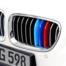 Wholesale Front Grill Cover - 3Pcs Set ABS Car Front Grill Trim Strips Cover Sticker Decal Car Styling Accessories For BMW 3 5 Series F10 F18 F30 F35