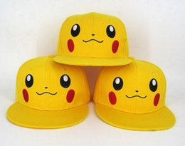 dd71fa05300 Anime Pikachu baseball Cap Fancy Costume Hat Unisex adult kids cartoon Sun  Hats Cosplay performance props XMAS gift Yellow 2 sizes